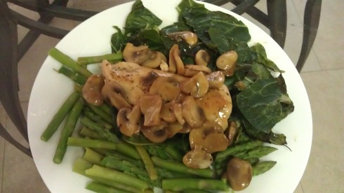 Chicken Marsala and greens
