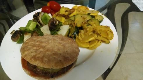 Burger and veggies